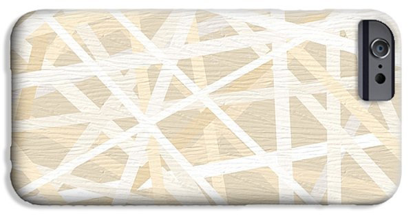 Beige Abstract iPhone Cases - Cream And Tan Art iPhone Case by Lourry Legarde