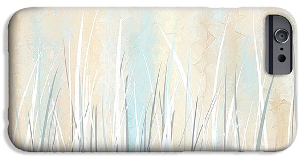 Beige Abstract iPhone Cases - Cream and Teal Art iPhone Case by Lourry Legarde