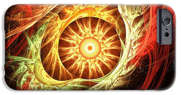 Burnt Umber iPhone Cases - Creation of Sun iPhone Case by Lourry Legarde