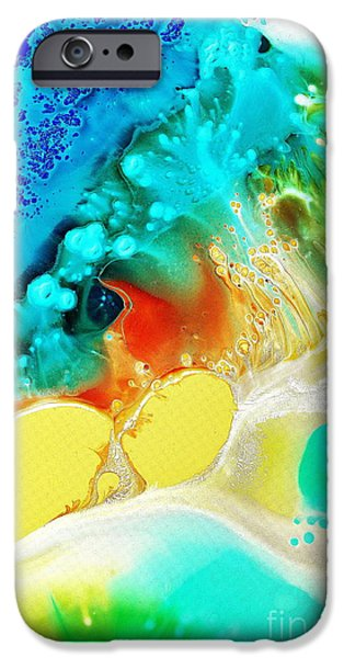 Blue Abstracts iPhone Cases - Creation Wave iPhone Case by Christine Ricker Brandt