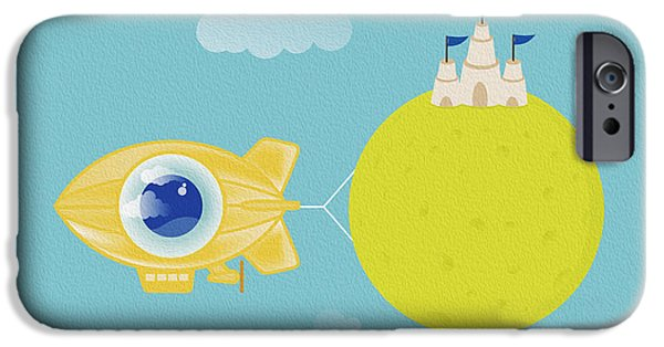 Sand Castles Digital Art iPhone Cases - Creative Zeppelin Planet.jpg iPhone Case by Cosmin Bicu