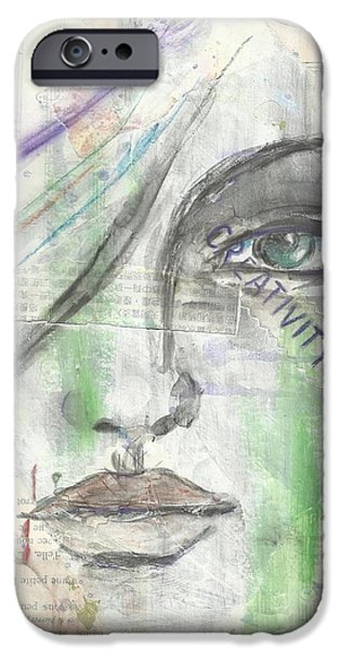 Mixed Media Drawings iPhone Cases - Creativity iPhone Case by P J Lewis