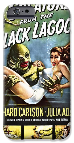 Recently Sold -  - Creepy iPhone Cases - CREATURE from the BLACK LAGOON LOBBY POSTER 1954 iPhone Case by Daniel Hagerman