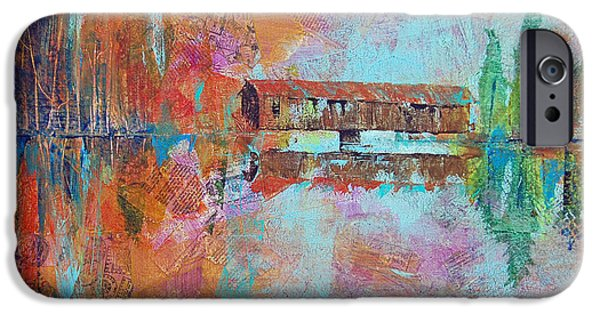 Covered Bridge Mixed Media iPhone Cases - Credit Card Covered Bridge iPhone Case by Robin Coats