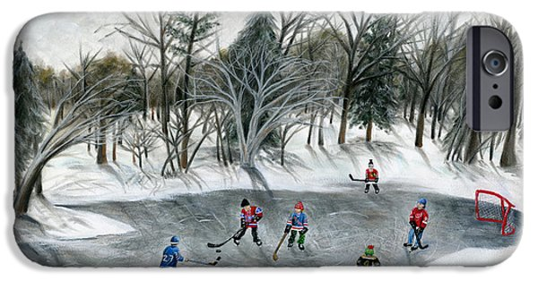 Snow Hockey Paintings iPhone Cases - Credit River Dreams iPhone Case by Brianna Mulvale