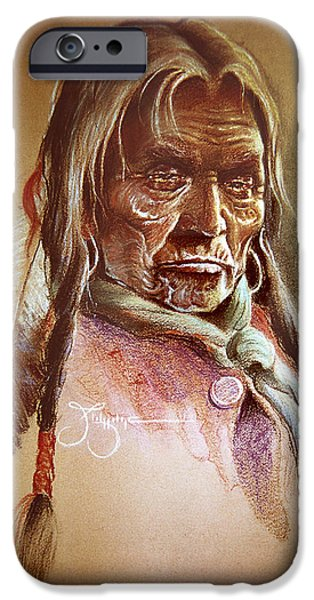 American Eagle Pastels iPhone Cases - Cree Elder iPhone Case by James Eldridge