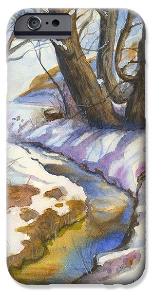 Snow Scene iPhone Cases - Creek at Bobcat Ridge iPhone Case by Victoria Lisi
