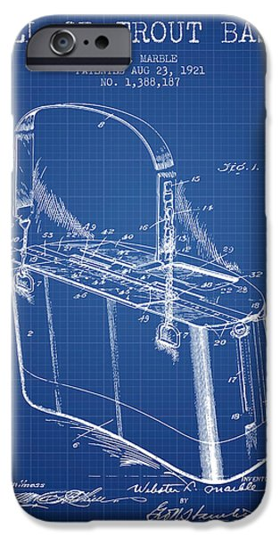 Basket iPhone Cases - Creel or Trout Basket Patent from 1921 - Blueprint iPhone Case by Aged Pixel