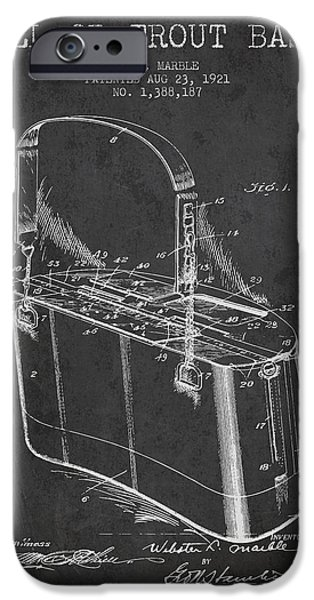 Basket iPhone Cases - Creel or Trout Basket Patent from 1921 - Charcoal iPhone Case by Aged Pixel