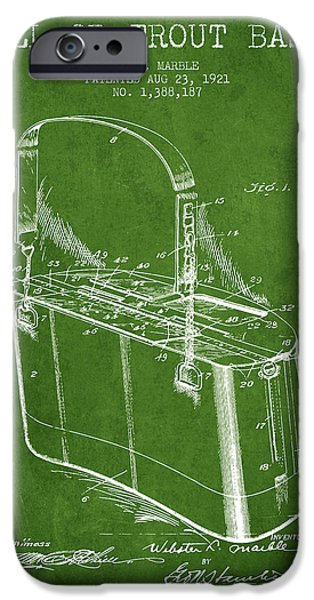 Basket iPhone Cases - Creel or Trout Basket Patent from 1921 - Green iPhone Case by Aged Pixel