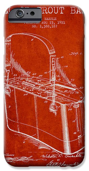 Basket iPhone Cases - Creel or Trout Basket Patent from 1921 - Red iPhone Case by Aged Pixel