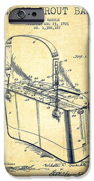 Basket iPhone Cases - Creel or Trout Basket Patent from 1921 - Vintage iPhone Case by Aged Pixel