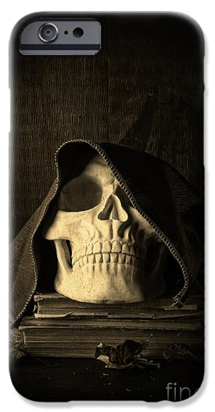 Copy iPhone Cases - Creepy Hooded Skull iPhone Case by Edward Fielding