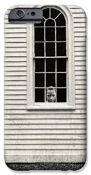 Creepy iPhone Cases - Creepy victorian girl looking out window iPhone Case by Edward Fielding