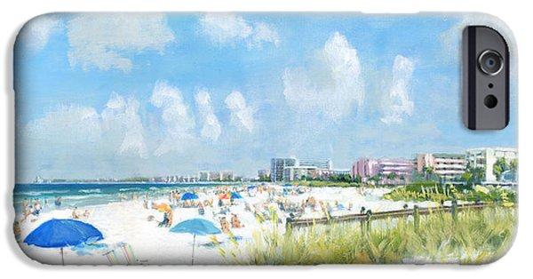 Umbrella iPhone Cases - Crescent Beach on Siesta Key iPhone Case by Shawn McLoughlin