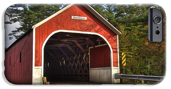 New England Autumn Scenes iPhone Cases - Cresson Covered Bridge 2 iPhone Case by Joann Vitali