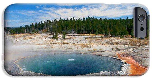 Alga iPhone Cases - Crested Pool Yellowstone National Park iPhone Case by Ram Vasudev
