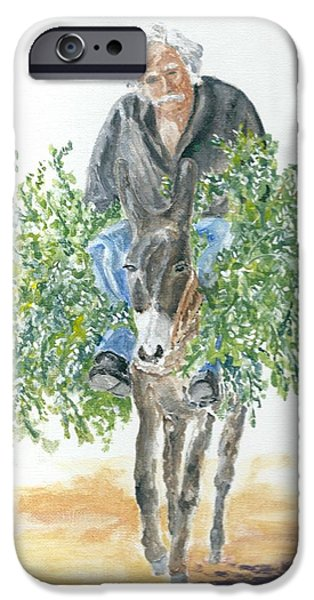 Recently Sold -  - Gray Hair iPhone Cases - Cretan donkey and owner iPhone Case by David Capon