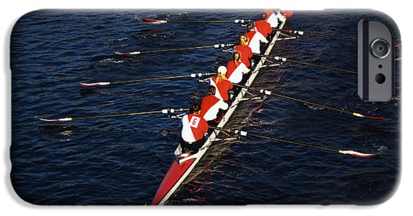 Precise iPhone Cases - Crew Boat At Head Of Charles Regatta iPhone Case by Panoramic Images