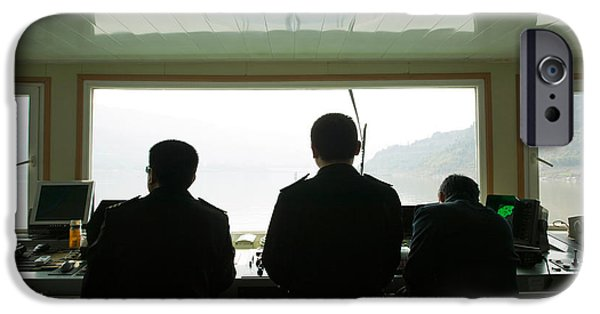 Technology iPhone Cases - Crew On The Bridge Of Yangzi River iPhone Case by Panoramic Images