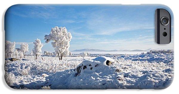 Highlands Digital iPhone Cases - Crianlarich - Sunlit Snow iPhone Case by Pat Speirs