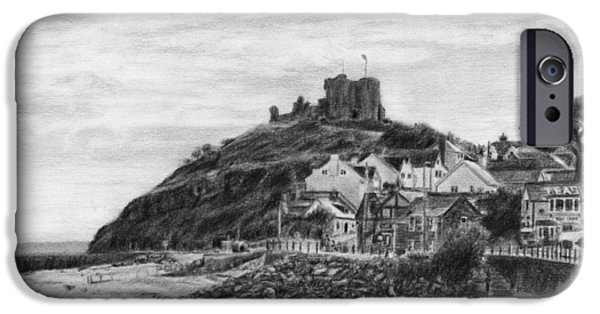 Beach Landscape Drawings iPhone Cases - Criccieth Beach Wales UK iPhone Case by David Rives