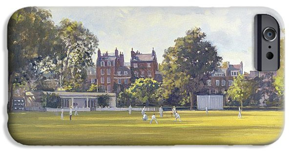 Chelsea iPhone Cases - Cricket At Burton Court Oil On Canvas iPhone Case by Julian Barrow