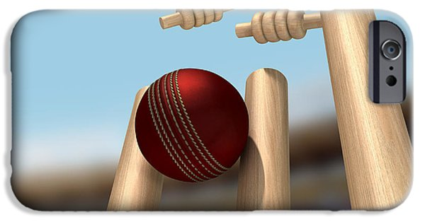 Cricket iPhone Cases - Cricket Ball Hitting Wickets iPhone Case by Allan Swart