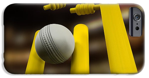 Team Sports iPhone Cases - Cricket Ball Hitting Wickets Night iPhone Case by Allan Swart