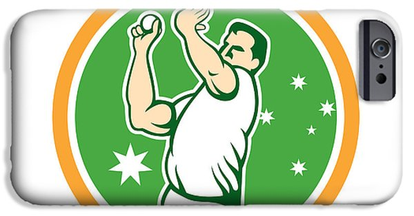 Fast Ball iPhone Cases - Cricket Fast Bowler Bowling Ball Circle Cartoon iPhone Case by Aloysius Patrimonio