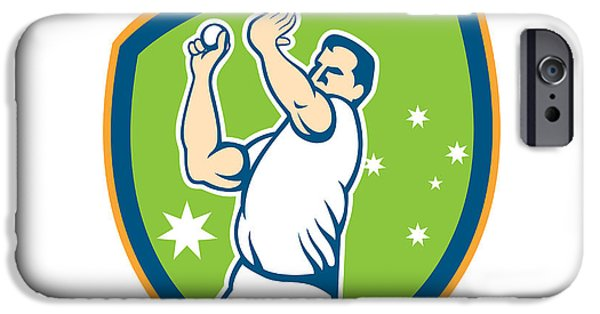 Fast Ball iPhone Cases - Cricket Fast Bowler Bowling Ball Shield Cartoon iPhone Case by Aloysius Patrimonio