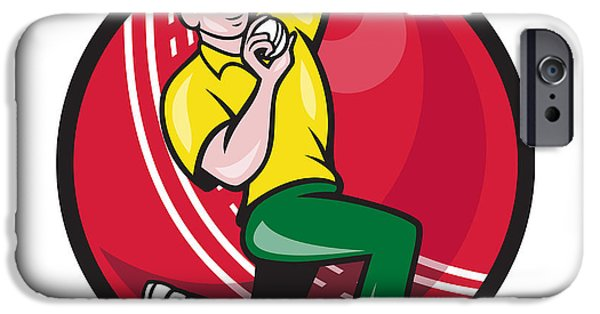 Fast Ball iPhone Cases - Cricket Fast Bowler Bowling Ball Side iPhone Case by Aloysius Patrimonio