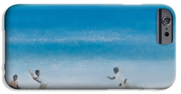 Summer iPhone Cases - Cricket On The Beach, 2012 Acrylic On Canvas iPhone Case by Lincoln Seligman