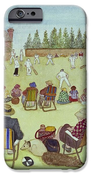 Dog iPhone Cases - Cricket On The Green, 1987 Watercolour On Paper iPhone Case by Gillian Lawson