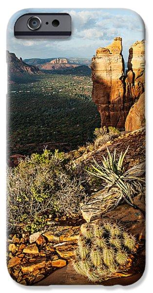 Cathedral Rock Digital Art iPhone Cases - Crimson Cliffs 08-064 iPhone Case by Scott McAllister