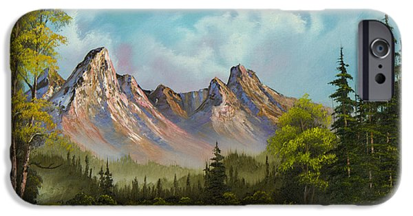 Sawtooth Mountain Paintings iPhone Cases - Crimson Mountains iPhone Case by C Steele