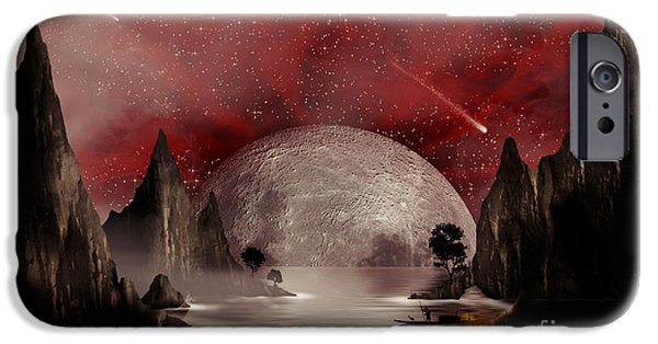 Concept Mixed Media iPhone Cases - Crimson Night iPhone Case by Anthony Citro
