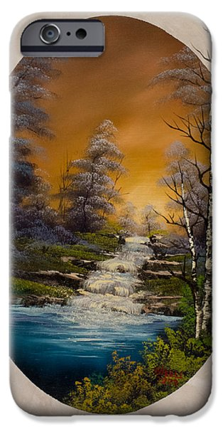 Bob Ross Paintings iPhone Cases - Copper Skies iPhone Case by C Steele