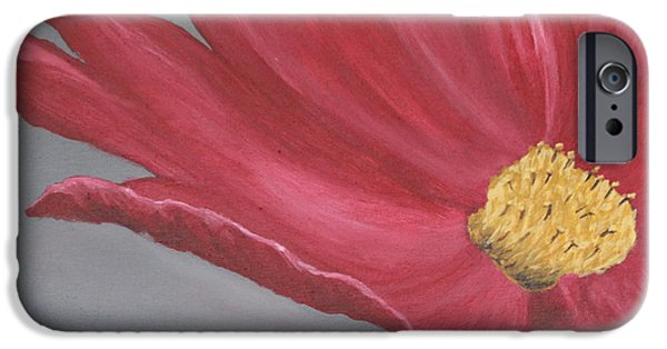 Biological Paintings iPhone Cases - Crimson Red Garden Cosmos iPhone Case by Christiane Schulze Art And Photography