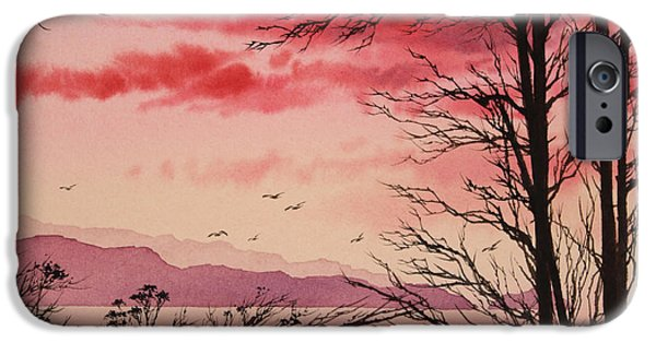 Sunset Framed Prints iPhone Cases - Crimson Shore iPhone Case by James Williamson
