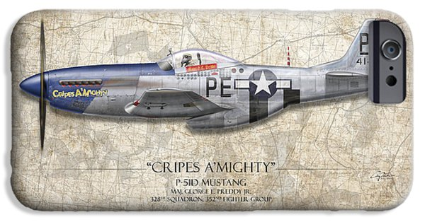 P-51 iPhone Cases - Cripes A Mighty P-51 Mustang - Map Background iPhone Case by Craig Tinder