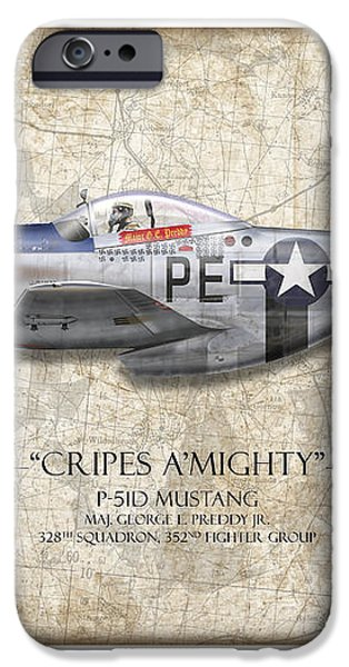 Cripes A Mighty P-51 Mustang - Map Background iPhone Case by Craig Tinder