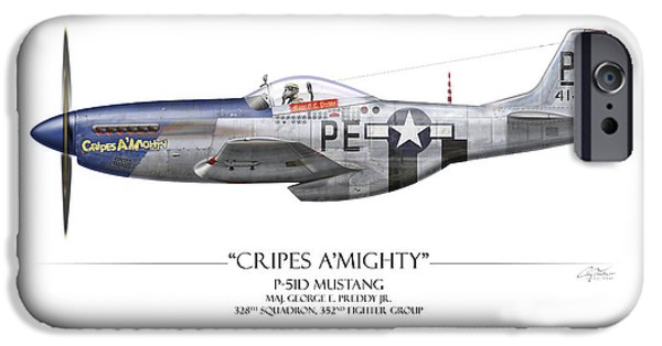 P-51 iPhone Cases - Cripes A Mighty P-51 Mustang - White Background iPhone Case by Craig Tinder