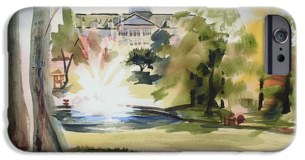 Baptist Paintings iPhone Cases - Crisp Water Fountain at the Baptist Home  iPhone Case by Kip DeVore