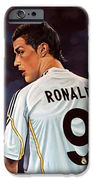 Football Paintings iPhone Cases - Cristiano Ronaldo iPhone Case by Paul Meijering