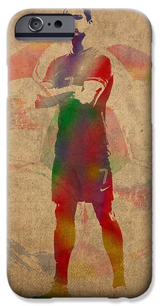 Player Mixed Media iPhone Cases - Cristiano Ronaldo Soccer Football Player Portugal Real Madrid Watercolor Painting on Worn Canvas iPhone Case by Design Turnpike