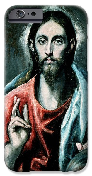 Greek iPhone Cases - Cristo Salvator Mundi, C.1600 Oil On Canvas iPhone Case by El Greco