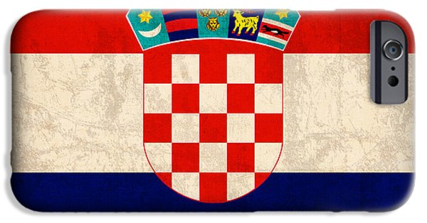 Recently Sold -  - Nation iPhone Cases - Croatia Flag Vintage Distressed Finish iPhone Case by Design Turnpike