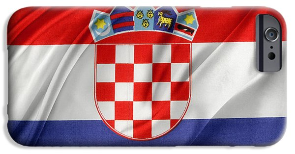 Patriotism iPhone Cases - Croatian flag iPhone Case by Les Cunliffe