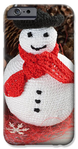 Diy iPhone Cases - Crochet snowman iPhone Case by Marta Holka